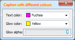 A custom-drawn window title bar showing text drawn with TTransparentCanvas