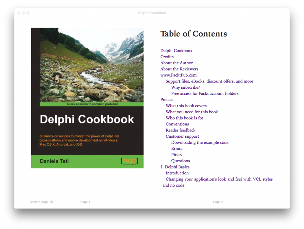 Front page of the Delphi Cookbook, epub version, shown in iBooks