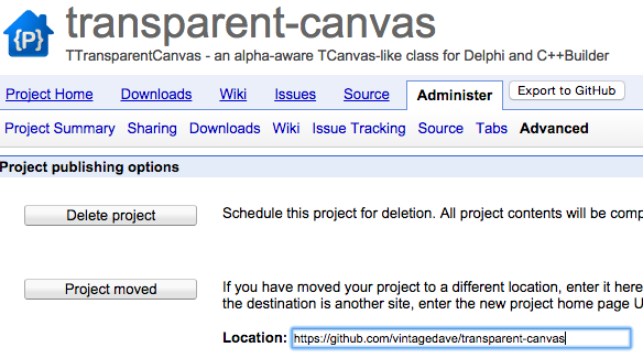 Entering the project moved location in the Google Code project settings