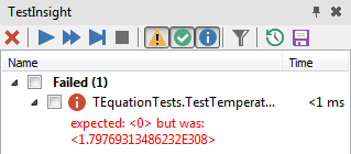 TestInsight's version of the same single test, failing